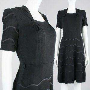 S Vintage 30s 40s Crepe Rayon Little Black Dress